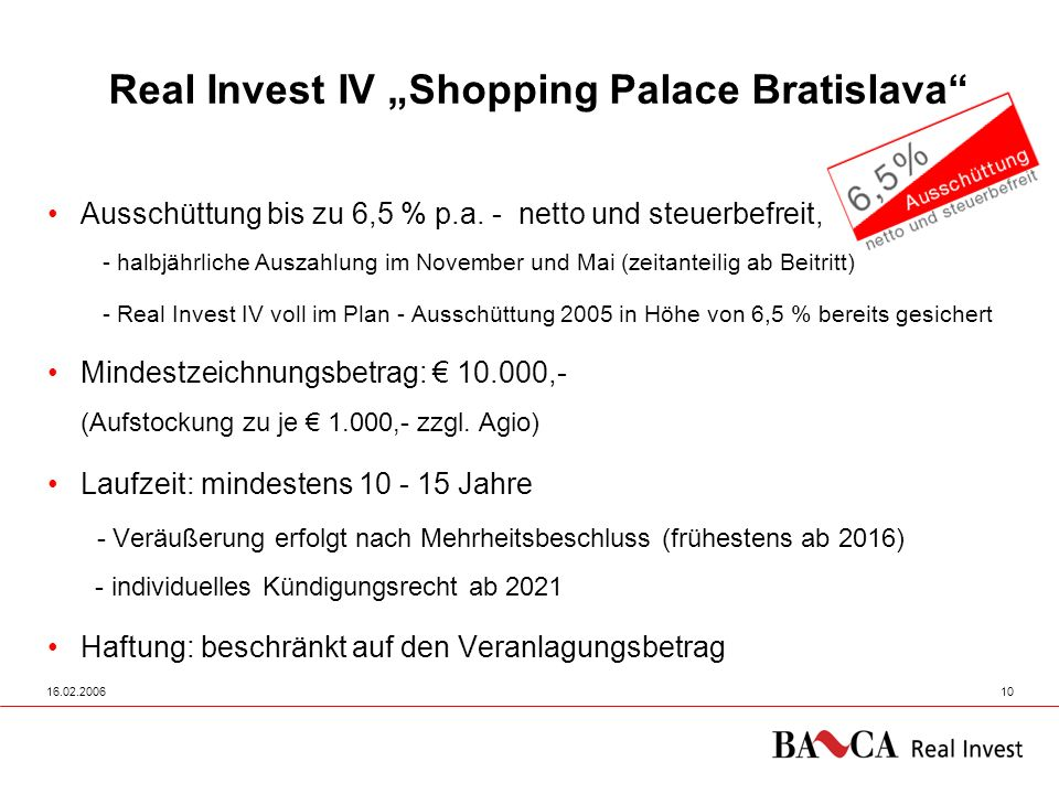 """Real Invest IV """"Shopping Palace Bratislava"""
