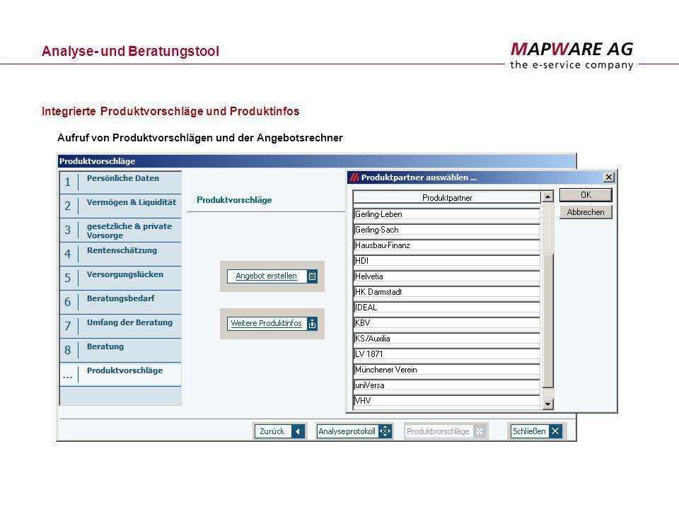 Integrierte Produktvorschläge und Produktinfos