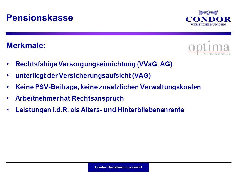 Pensionskasse Merkmale: Rechtsfähige Versorgungseinrichtung (VVaG, AG)