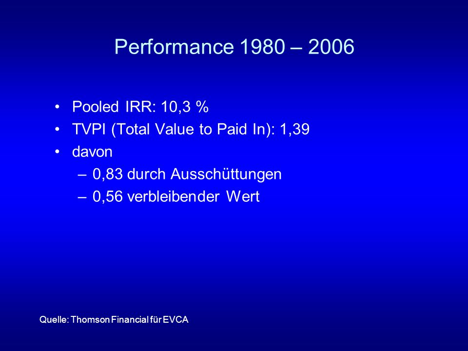 Performance 1980 – 2006 Pooled IRR: 10,3 %