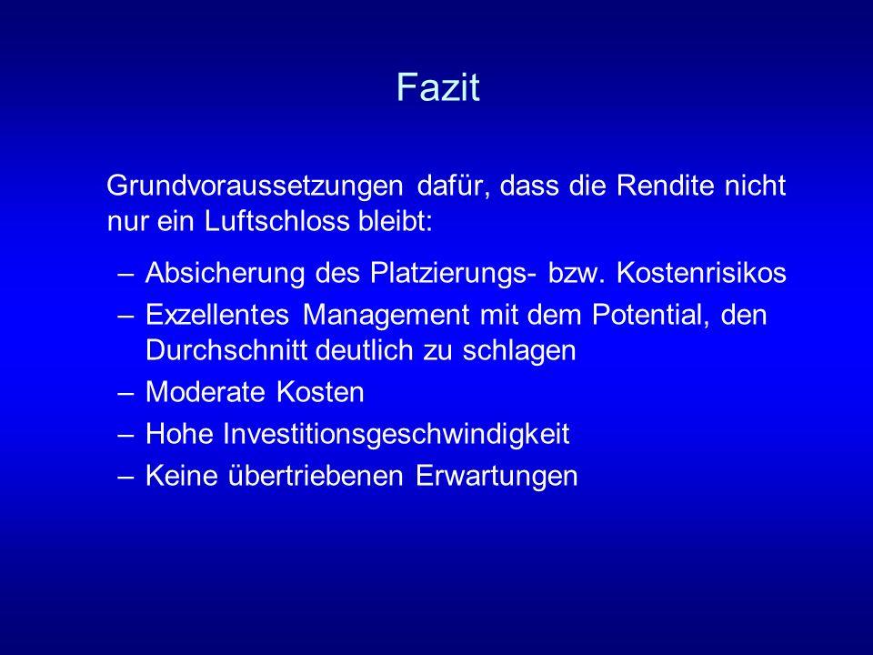FazitGrundvoraussetzungen dafür, dass die Rendite nicht nur ein Luftschloss bleibt: Absicherung des Platzierungs- bzw. Kostenrisikos.