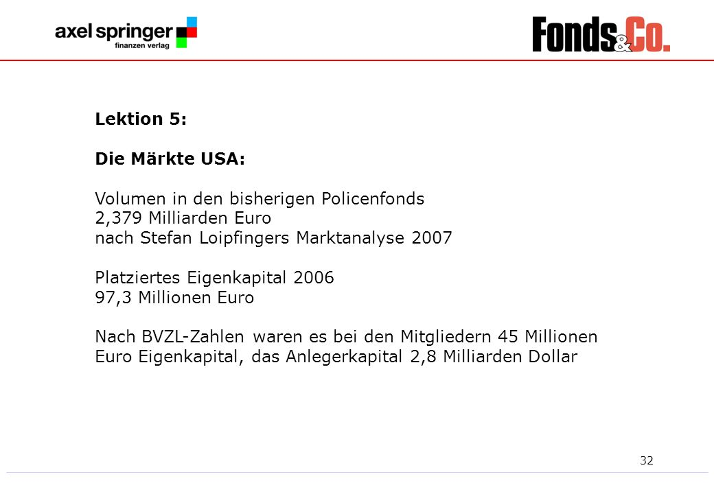 Lektion 5:Die Märkte USA: Volumen in den bisherigen Policenfonds. 2,379 Milliarden Euro. nach Stefan Loipfingers Marktanalyse 2007.