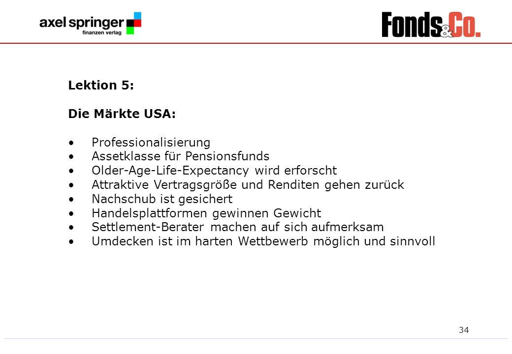 Lektion 5: Die Märkte USA: Professionalisierung. Assetklasse für Pensionsfunds. Older-Age-Life-Expectancy wird erforscht.