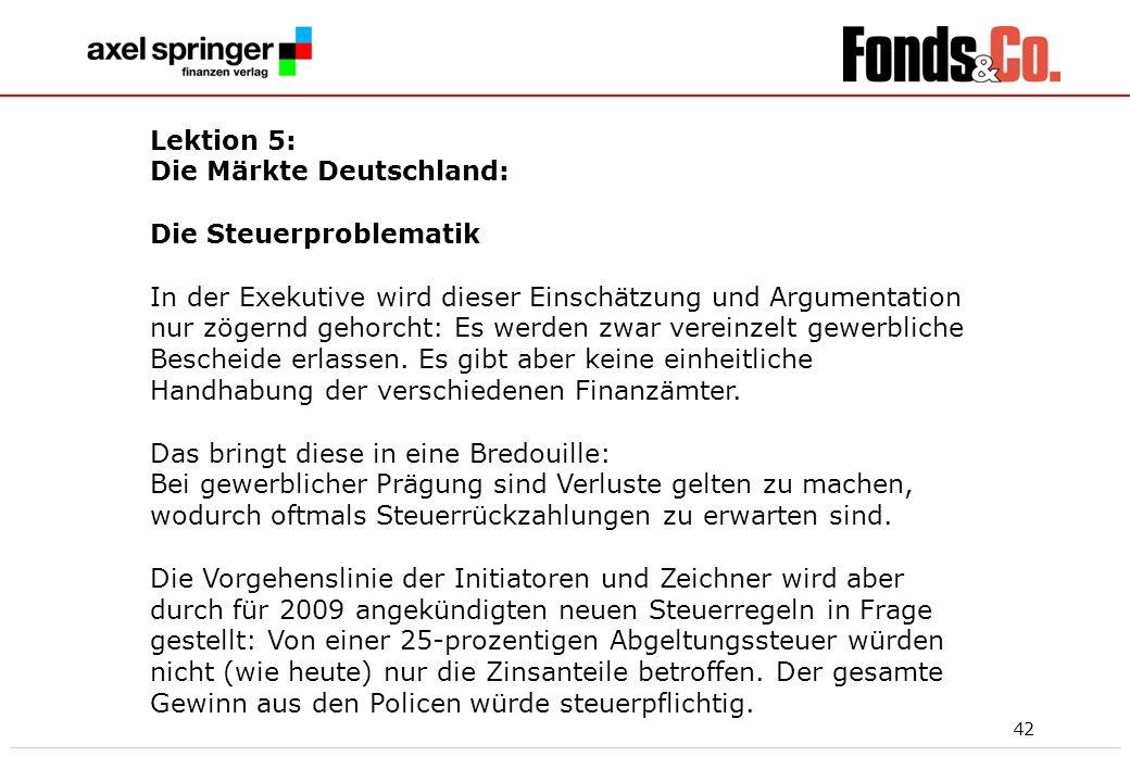 Lektion 5:Die Märkte Deutschland: Die Steuerproblematik.