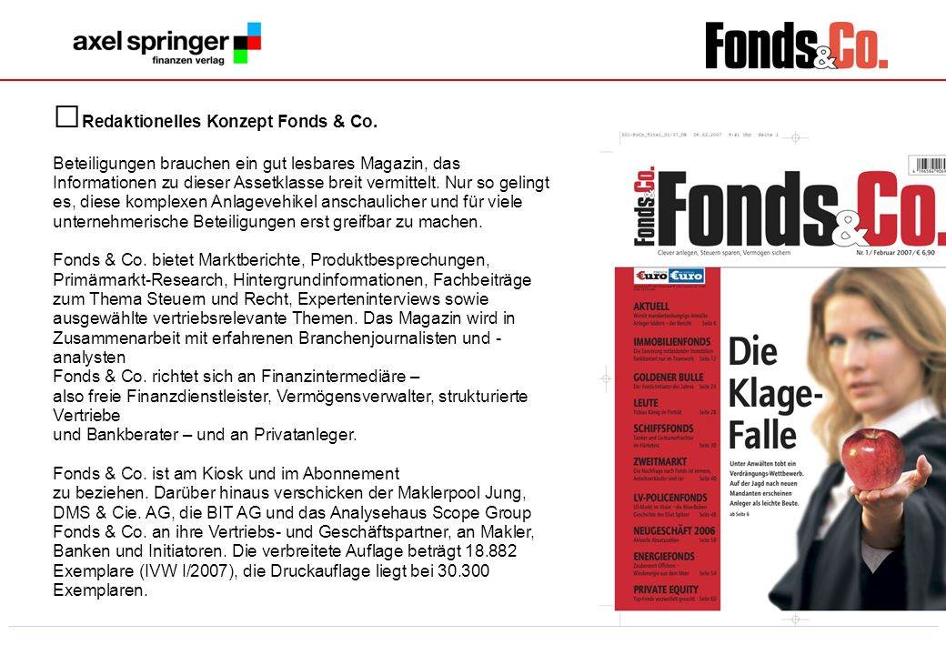 Redaktionelles Konzept Fonds & Co.
