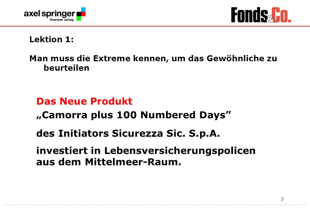 "Das Neue Produkt ""Camorra plus 100 Numbered Days"