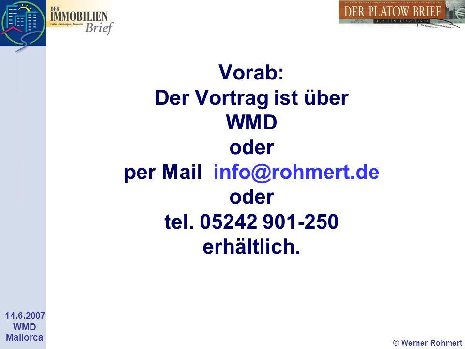 Vorab: Der Vortrag ist über WMD oder per Mail info@rohmert.de oder tel. 05242 901-250 erhältlich.
