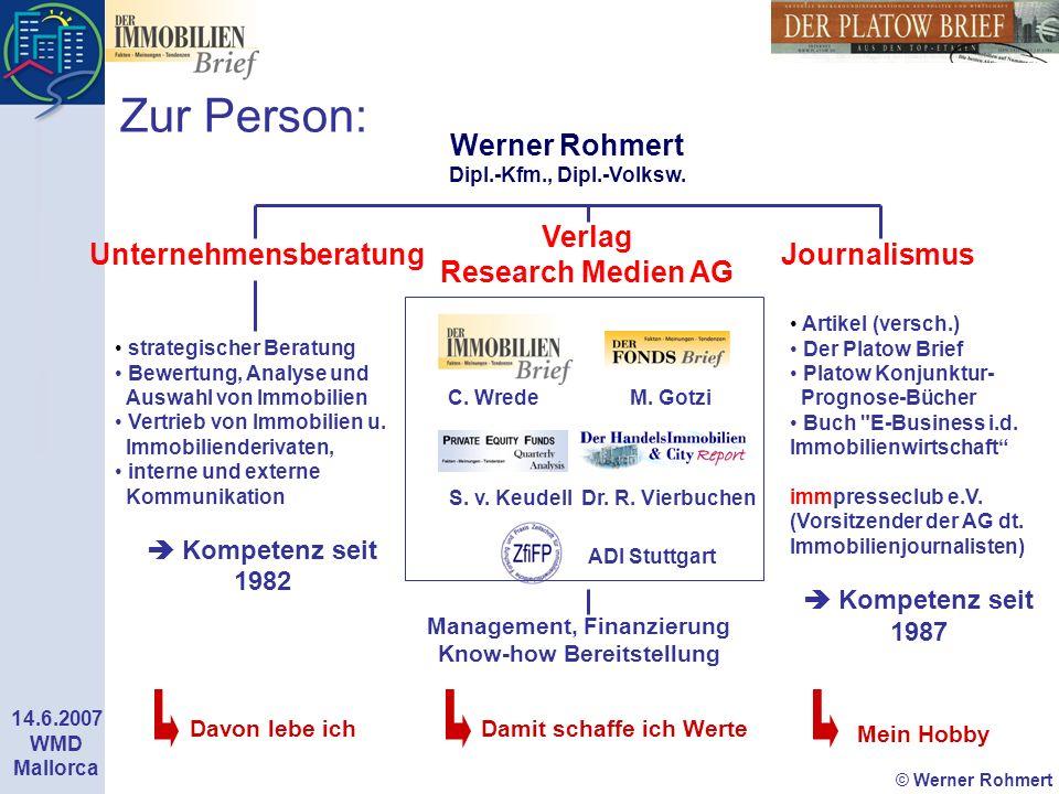 Zur Person: Werner Rohmert Dipl.-Kfm., Dipl.-Volksw. Verlag