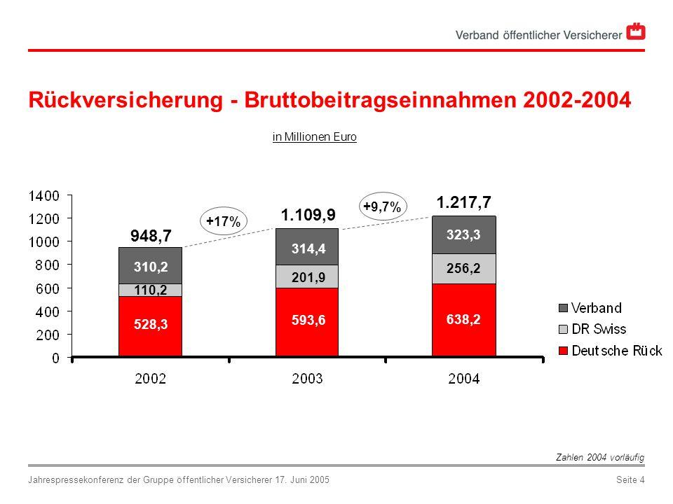 Rückversicherung - Bruttobeitragseinnahmen 2002-2004