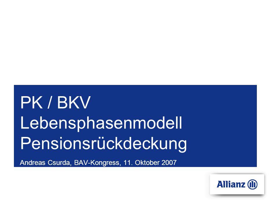 PK / BKV Lebensphasenmodell Pensionsrückdeckung