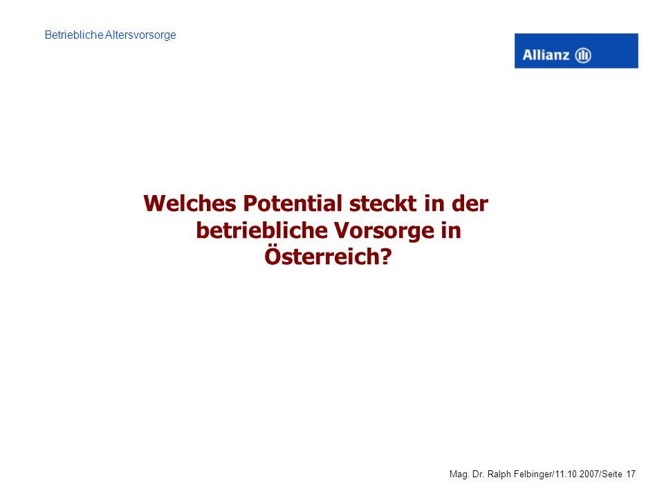 Welches Potential steckt in der betriebliche Vorsorge in Österreich