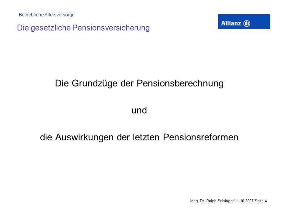 Die gesetzliche Pensionsversicherung