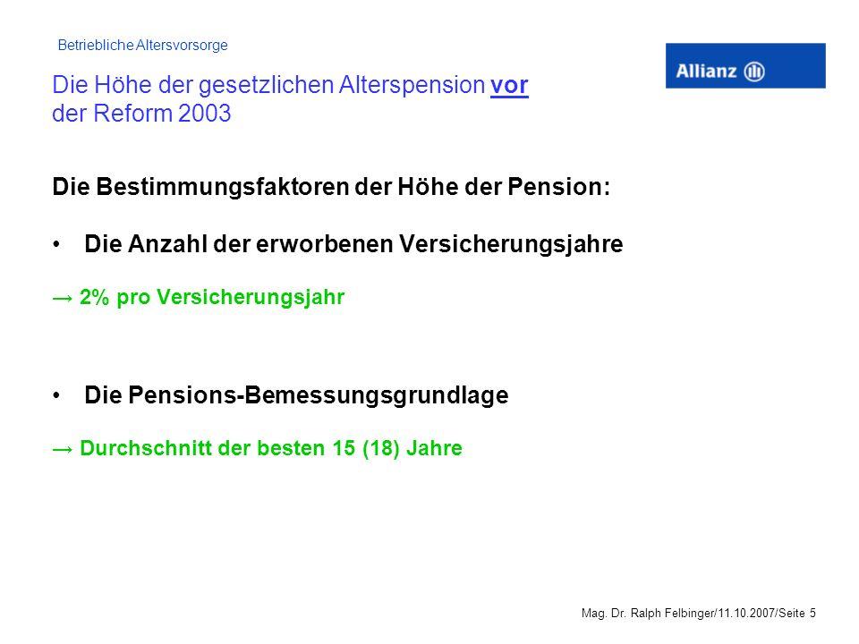 Die Höhe der gesetzlichen Alterspension vor der Reform 2003