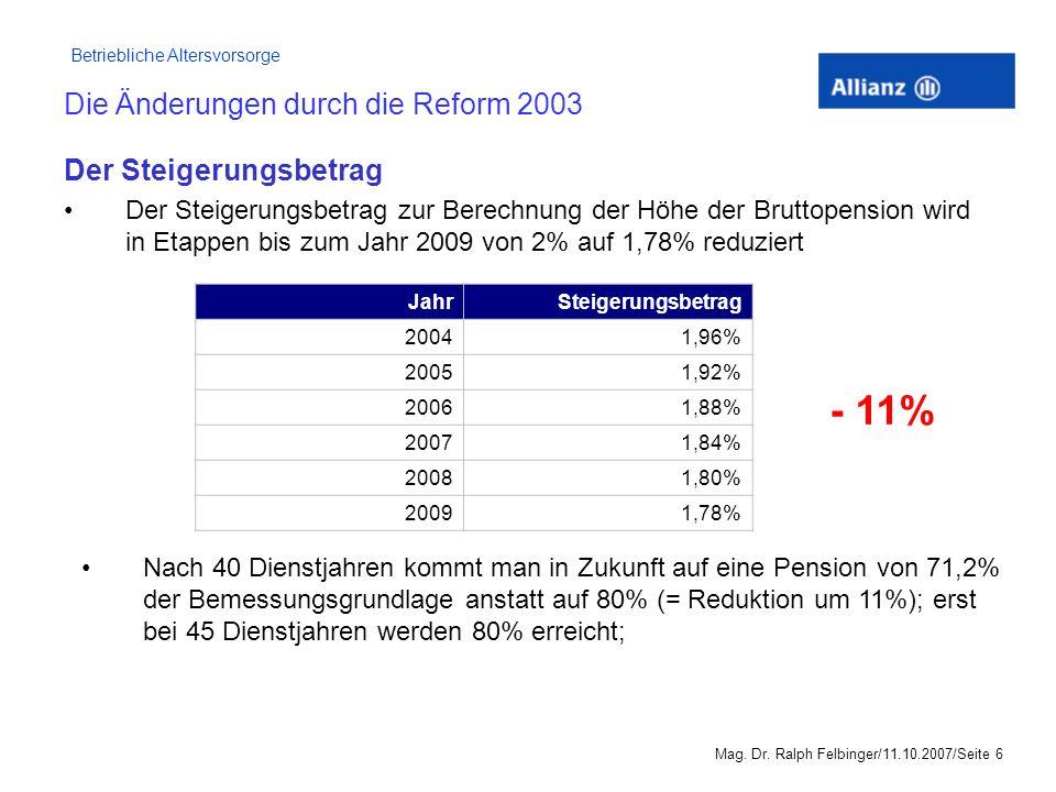 Die Änderungen durch die Reform 2003