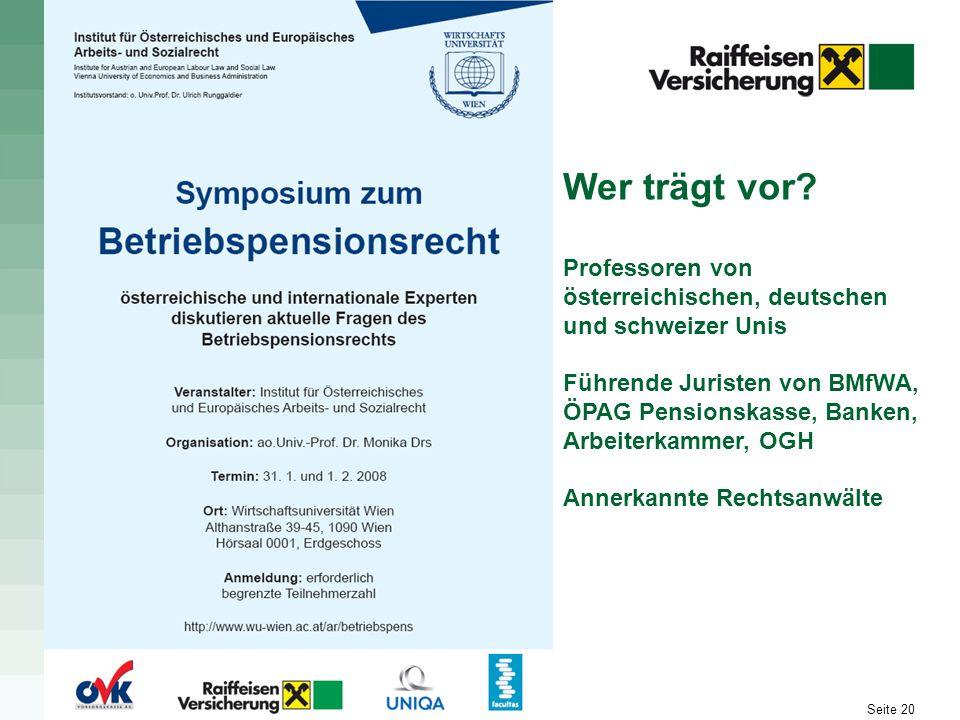 Wer trägt vor Professoren von österreichischen, deutschen