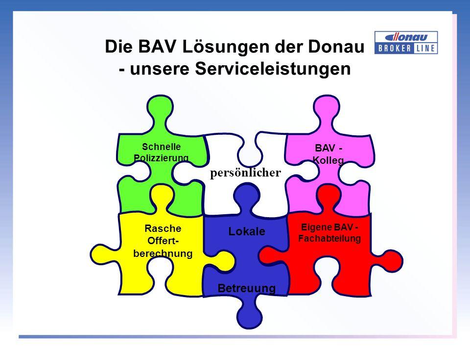 Die BAV Lösungen der Donau - unsere Serviceleistungen