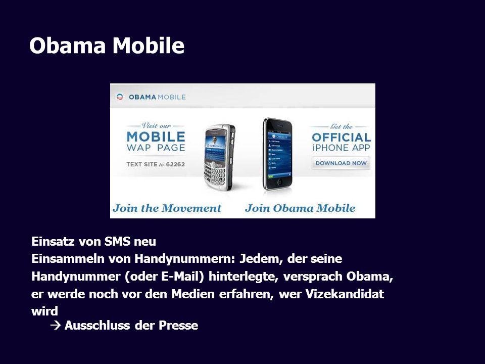 Obama Mobile Einsatz von SMS neu