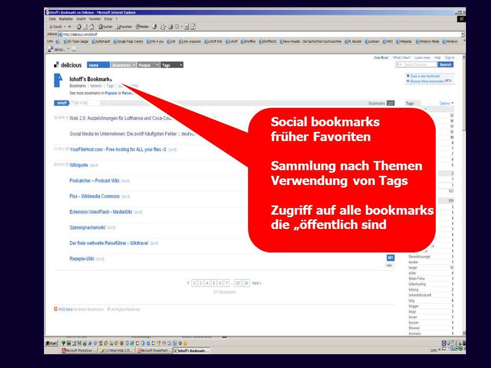 Social bookmarks früher Favoriten. Sammlung nach Themen. Verwendung von Tags. Zugriff auf alle bookmarks.