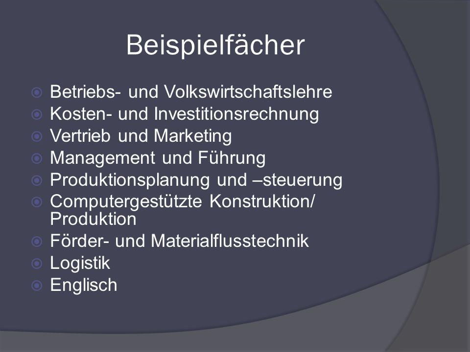 Beispielfächer Betriebs- und Volkswirtschaftslehre