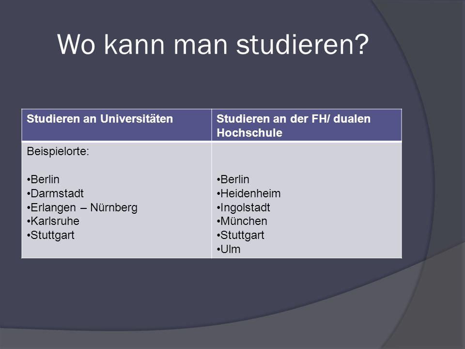 Wo kann man studieren Studieren an Universitäten