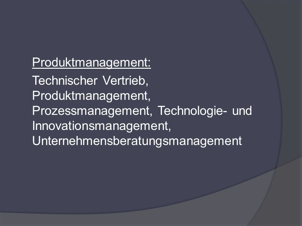 Produktmanagement: Technischer Vertrieb, Produktmanagement, Prozessmanagement, Technologie- und Innovationsmanagement, Unternehmensberatungsmanagement