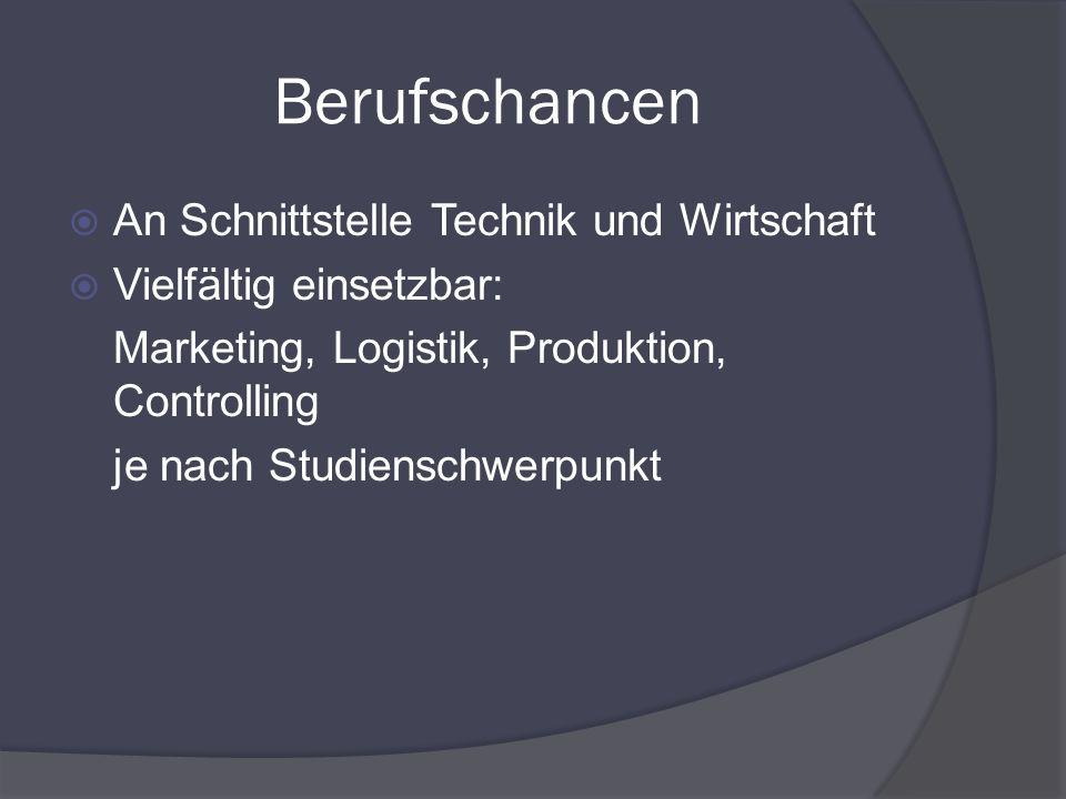 Berufschancen An Schnittstelle Technik und Wirtschaft