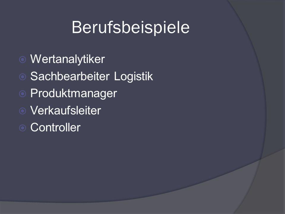Berufsbeispiele Wertanalytiker Sachbearbeiter Logistik Produktmanager