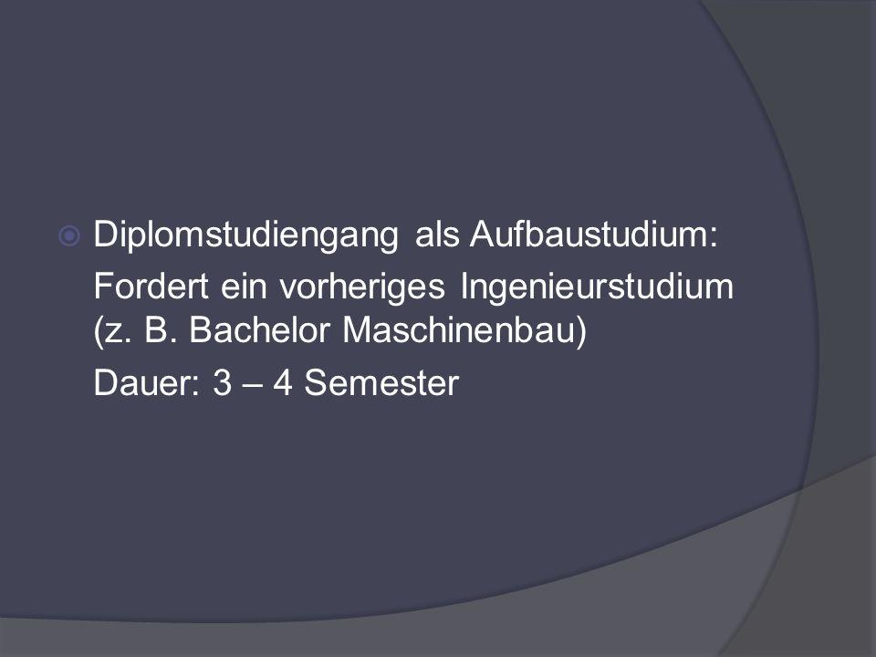 Diplomstudiengang als Aufbaustudium:
