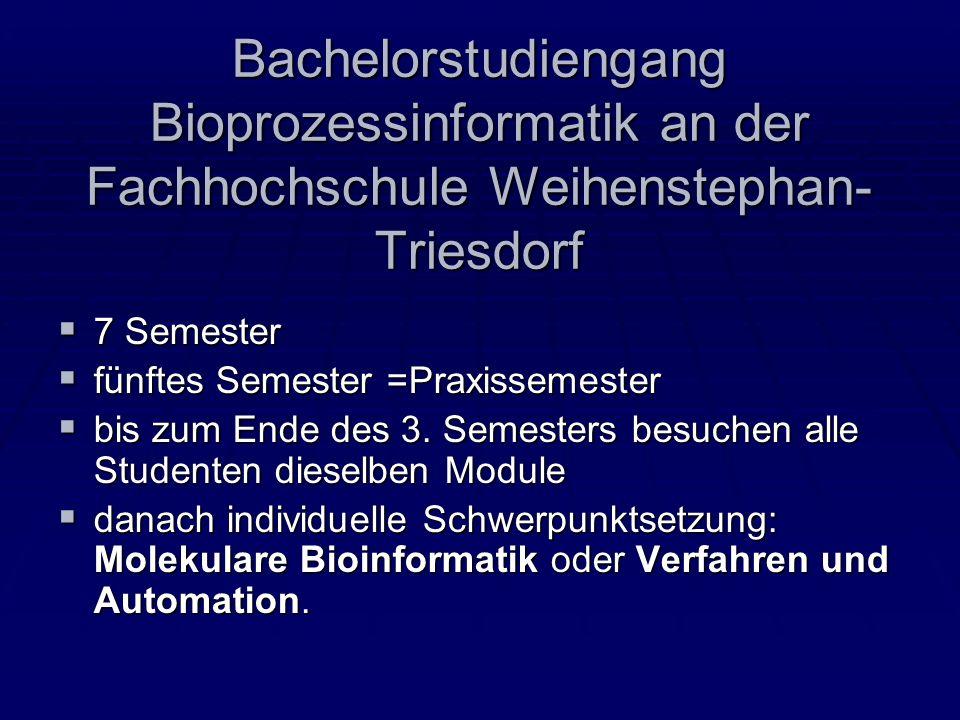 Bachelorstudiengang Bioprozessinformatik an der Fachhochschule Weihenstephan-Triesdorf