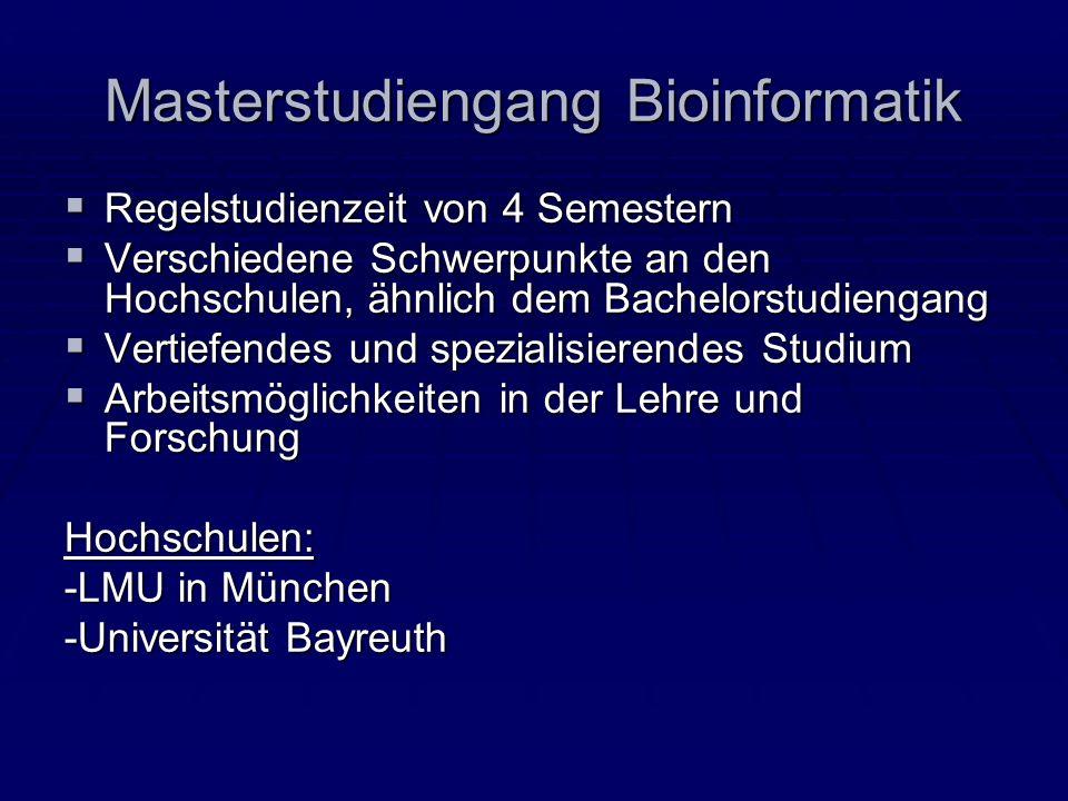 Masterstudiengang Bioinformatik