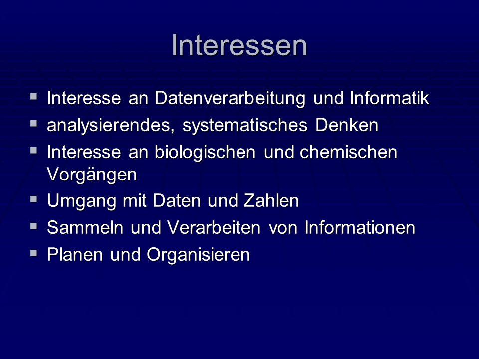 Interessen Interesse an Datenverarbeitung und Informatik
