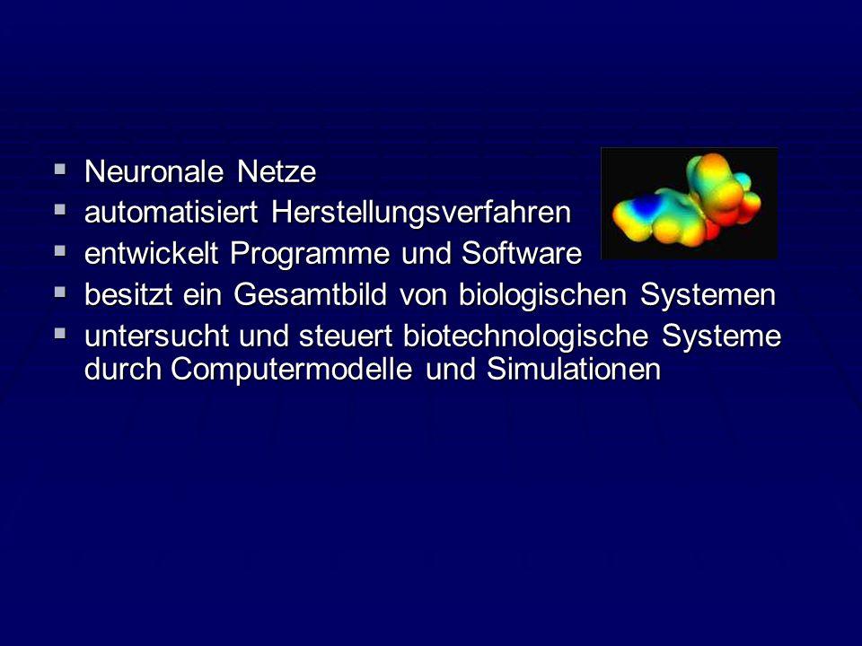Neuronale Netze automatisiert Herstellungsverfahren. entwickelt Programme und Software. besitzt ein Gesamtbild von biologischen Systemen.