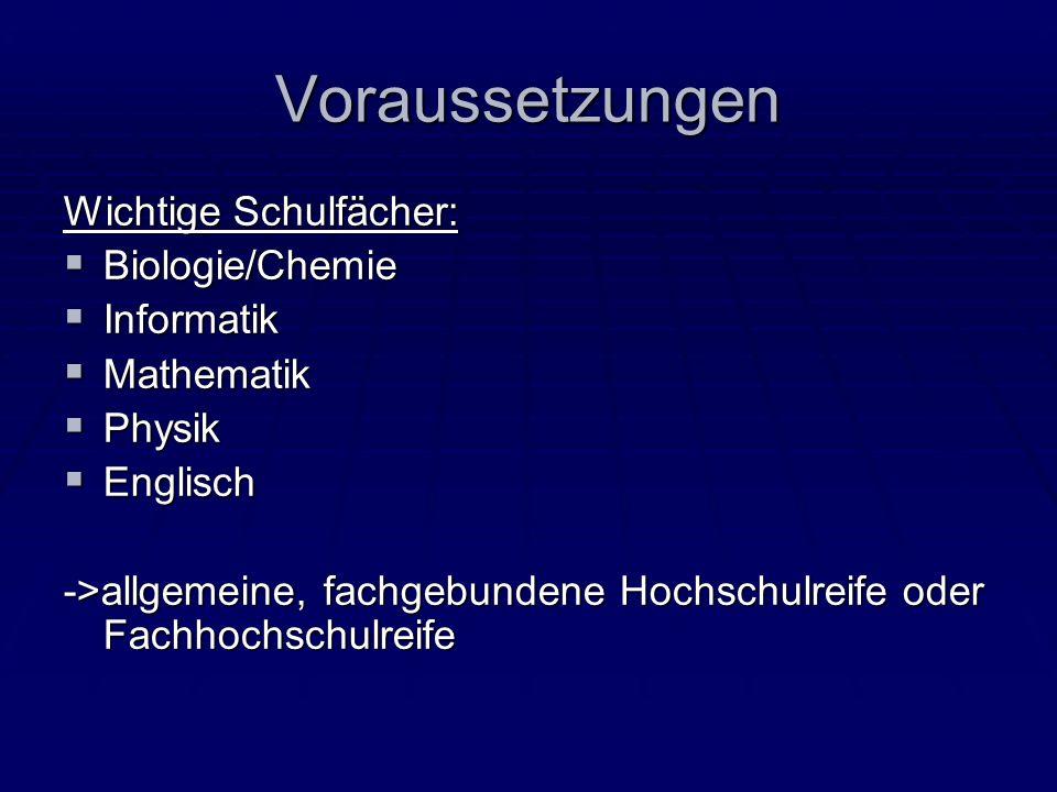 Voraussetzungen Wichtige Schulfächer: Biologie/Chemie Informatik