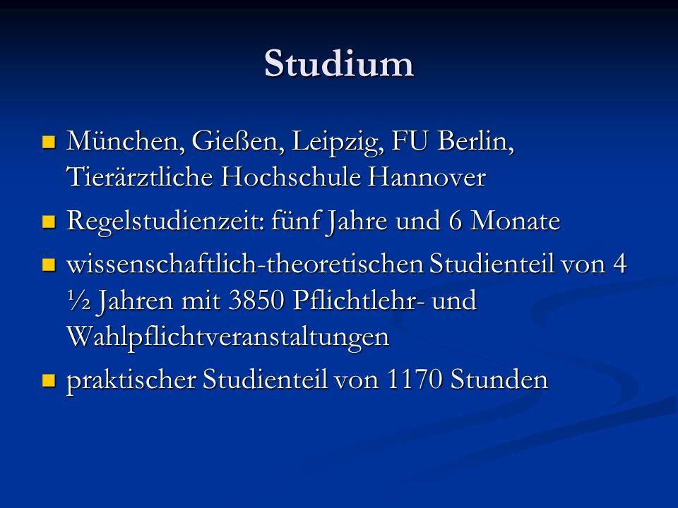 StudiumMünchen, Gießen, Leipzig, FU Berlin, Tierärztliche Hochschule Hannover. Regelstudienzeit: fünf Jahre und 6 Monate.