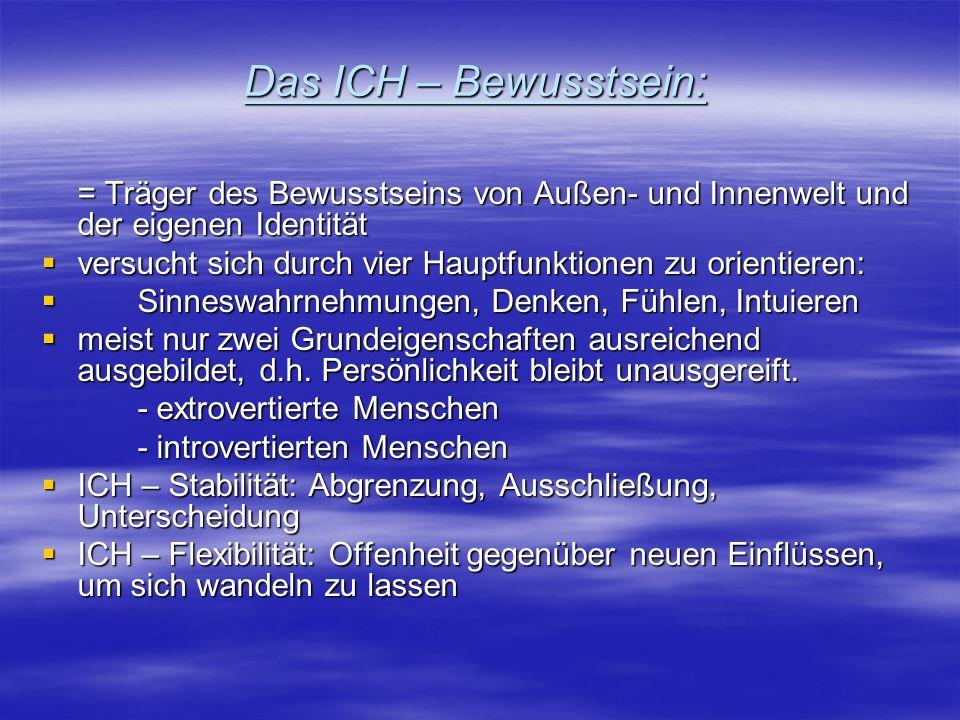 Das ICH – Bewusstsein: = Träger des Bewusstseins von Außen- und Innenwelt und der eigenen Identität.