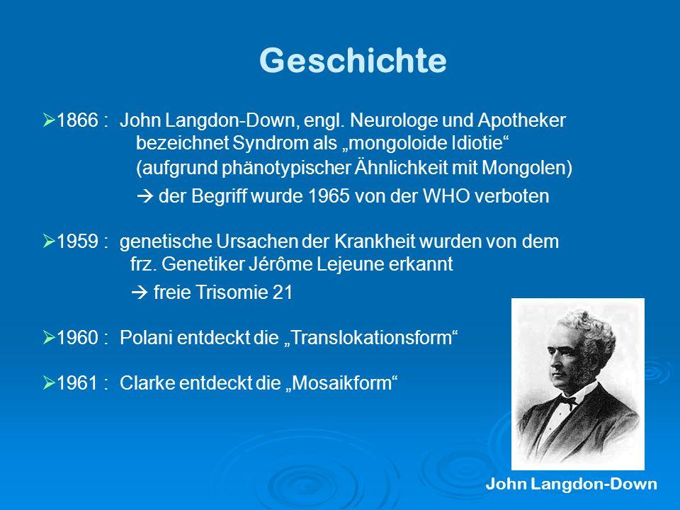 Geschichte 1866 : John Langdon-Down, engl. Neurologe und Apotheker