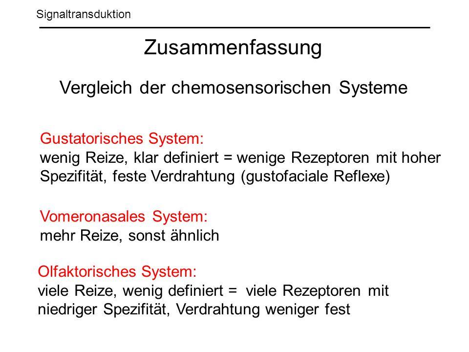 Zusammenfassung Vergleich der chemosensorischen Systeme