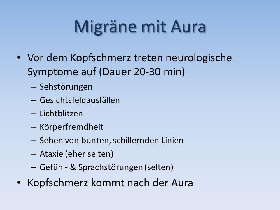 Migräne mit Aura Vor dem Kopfschmerz treten neurologische Symptome auf (Dauer 20-30 min) Sehstörungen.