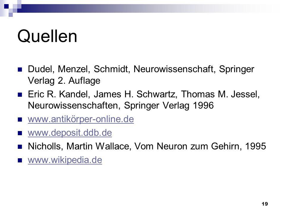 Quellen Dudel, Menzel, Schmidt, Neurowissenschaft, Springer Verlag 2. Auflage.