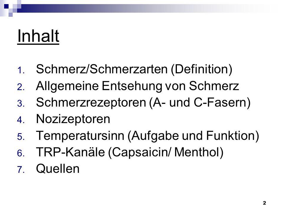 Inhalt Schmerz/Schmerzarten (Definition)
