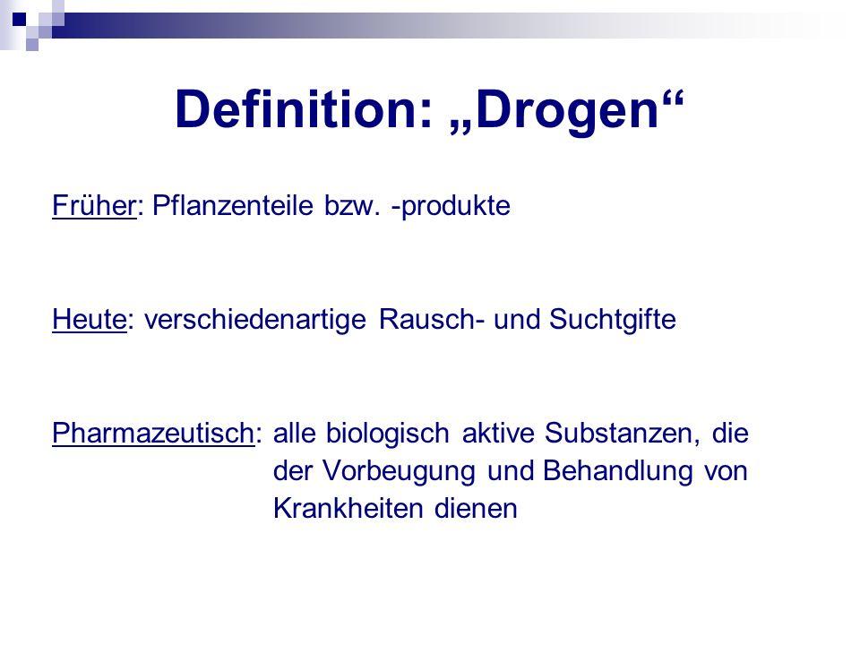 """Definition: """"Drogen Früher: Pflanzenteile bzw. -produkte"""