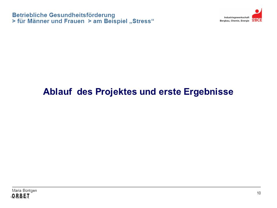Ablauf des Projektes und erste Ergebnisse
