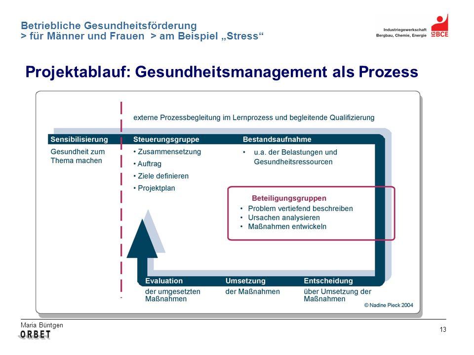 Projektablauf: Gesundheitsmanagement als Prozess