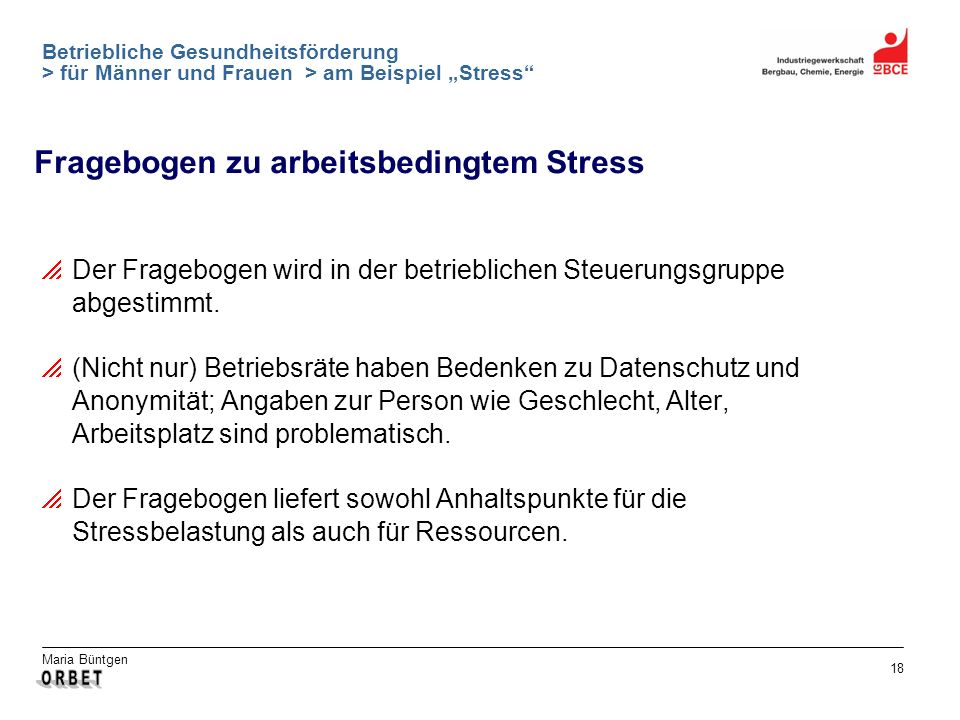 Fragebogen zu arbeitsbedingtem Stress