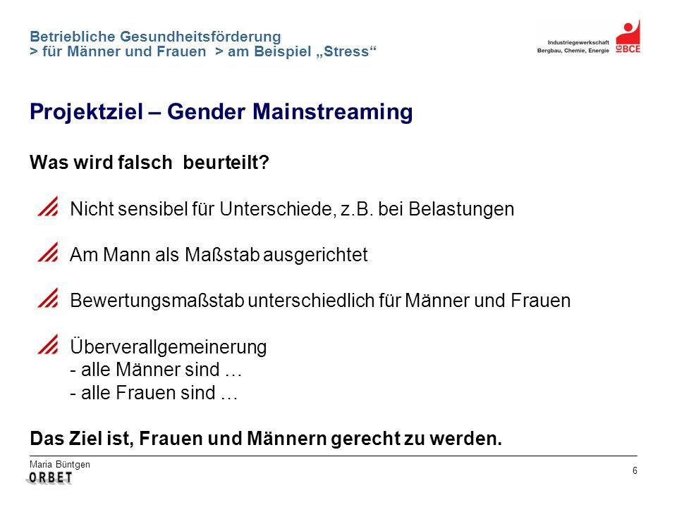 Projektziel – Gender Mainstreaming