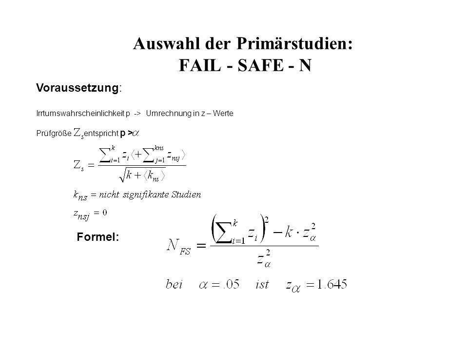 Auswahl der Primärstudien: FAIL - SAFE - N