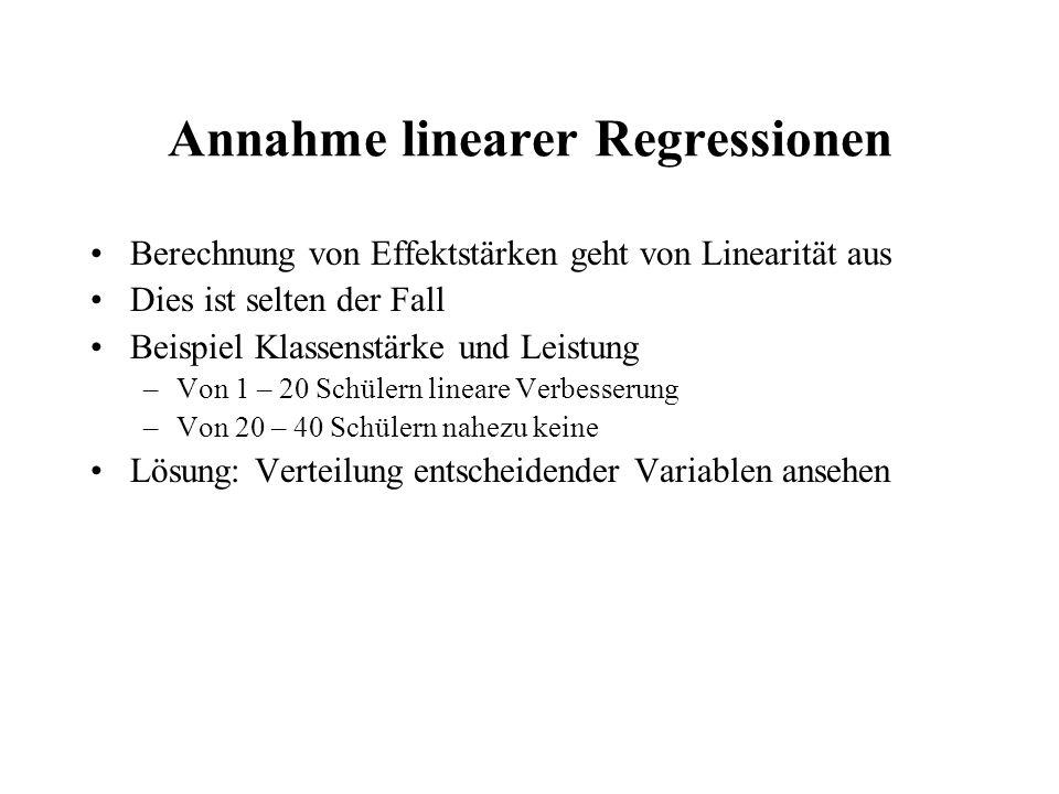 Annahme linearer Regressionen
