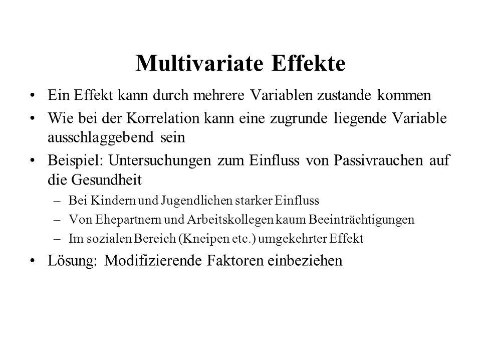 Multivariate Effekte Ein Effekt kann durch mehrere Variablen zustande kommen.