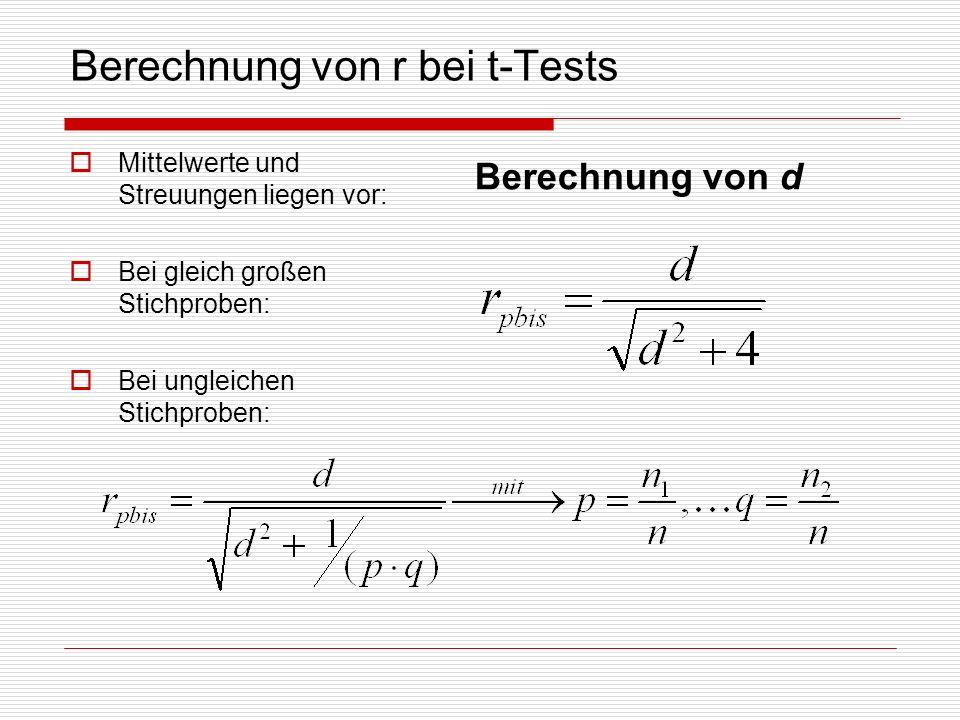 Berechnung von r bei t-Tests