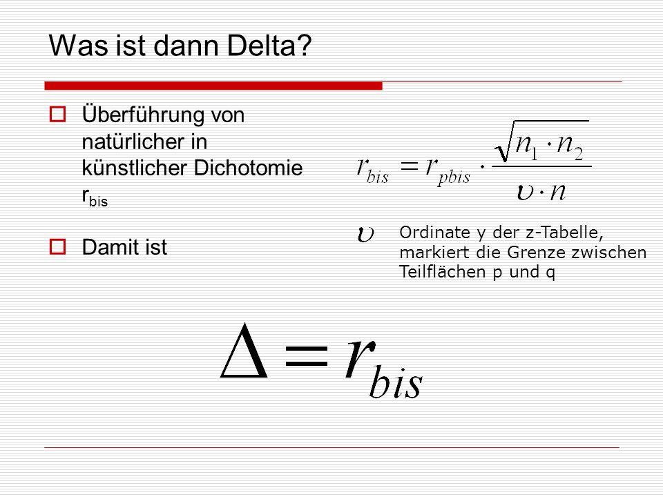 Was ist dann Delta Überführung von natürlicher in künstlicher Dichotomie rbis. Damit ist. Ordinate y der z-Tabelle,